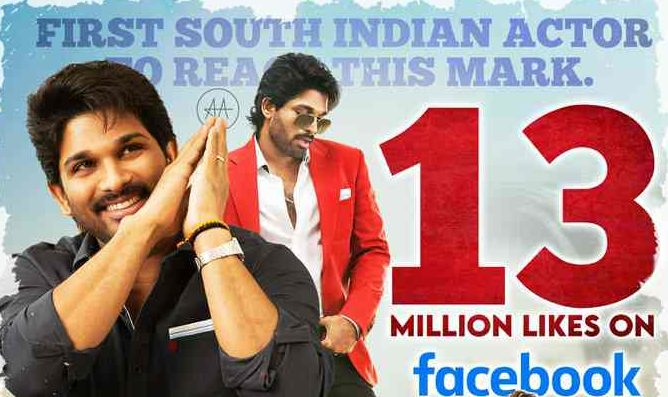 Allu Arjun Became Most Liked South Indian Actor In FaceBook